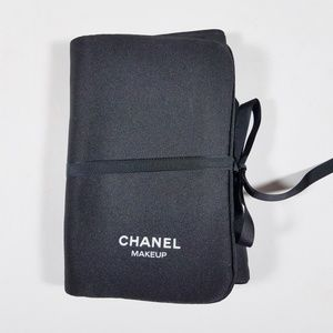 CHANEL Black Nylon Makeup Travel Case Pouch Small